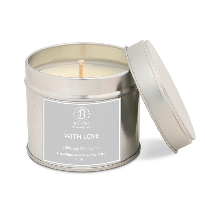 "Product image for Bambu Candles ""With Love"" Scented Soy Candle Tin - Creed Aftershave Inspired"