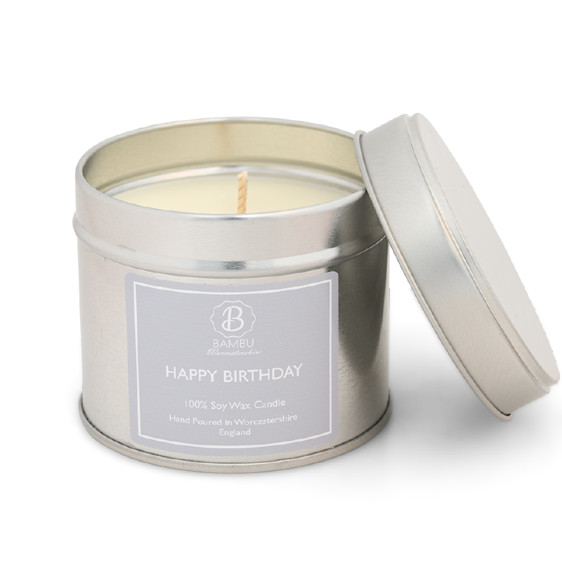 Product image for Bambu Candles Happy Birthday Soy Candle Tin - Angel Perfume Inspired