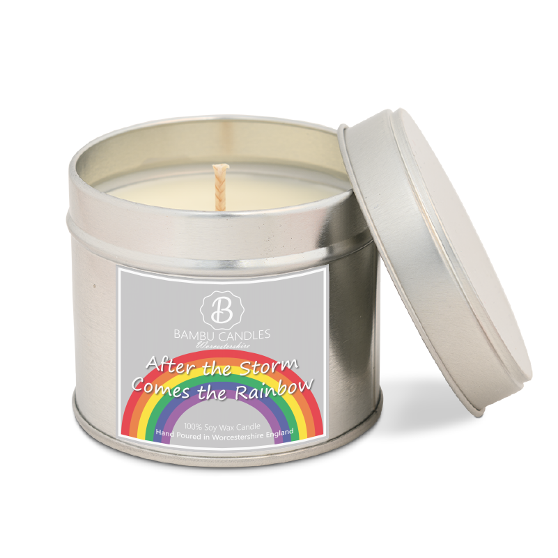 Product image for Bambu Candles After the storm comes the Rainbow Soy Candle Tin - Amalfi Coast
