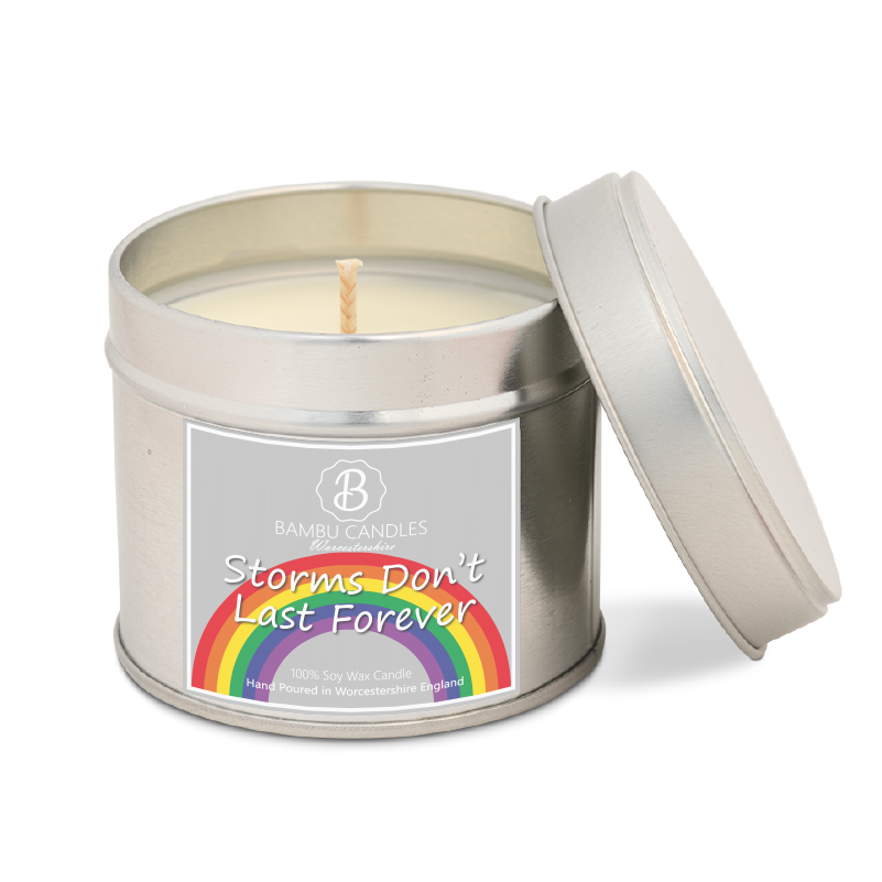 Product image for Bambu Candles Storms don't last forever Rainbow Soy Candle Tin - Amalfi Coast