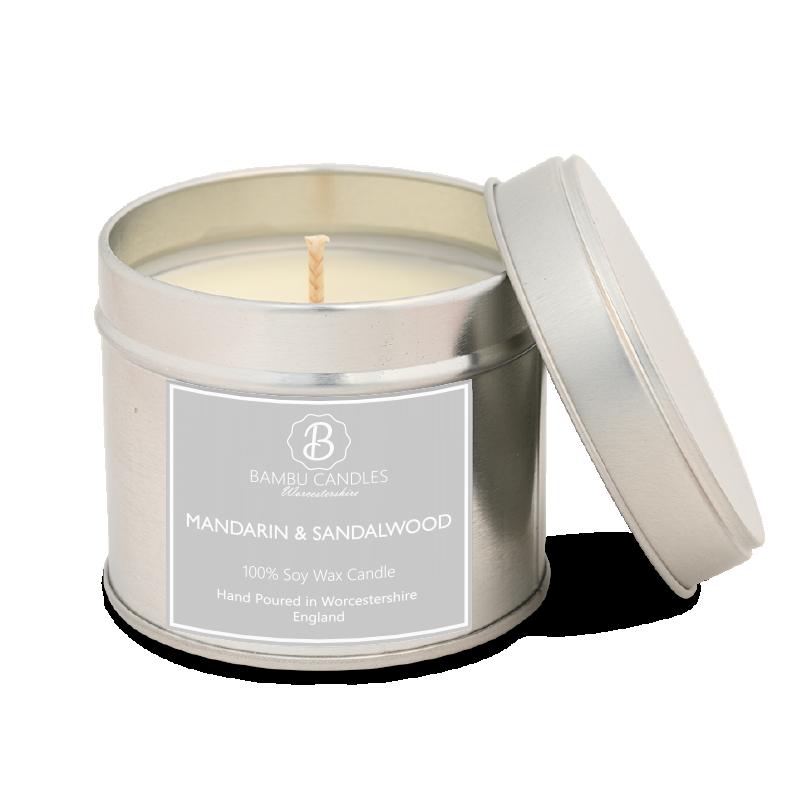 Product image for Bambu Candles Mandarin & Sandalwood Soy Candle Tin
