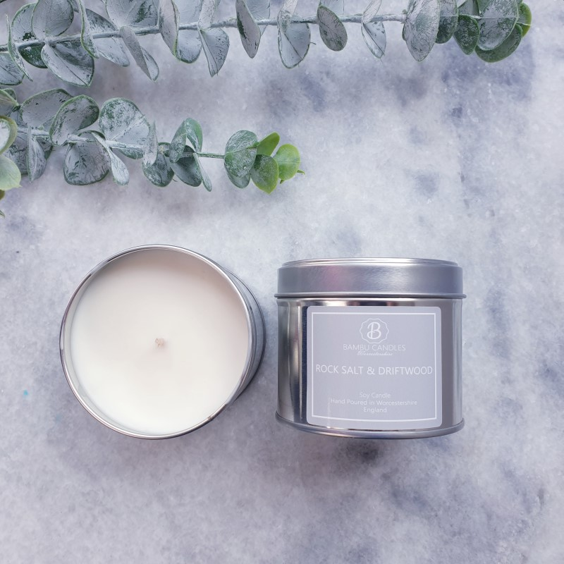 Product image for Bambu Candles Rock Salt & Driftwood Soy Candle Tin