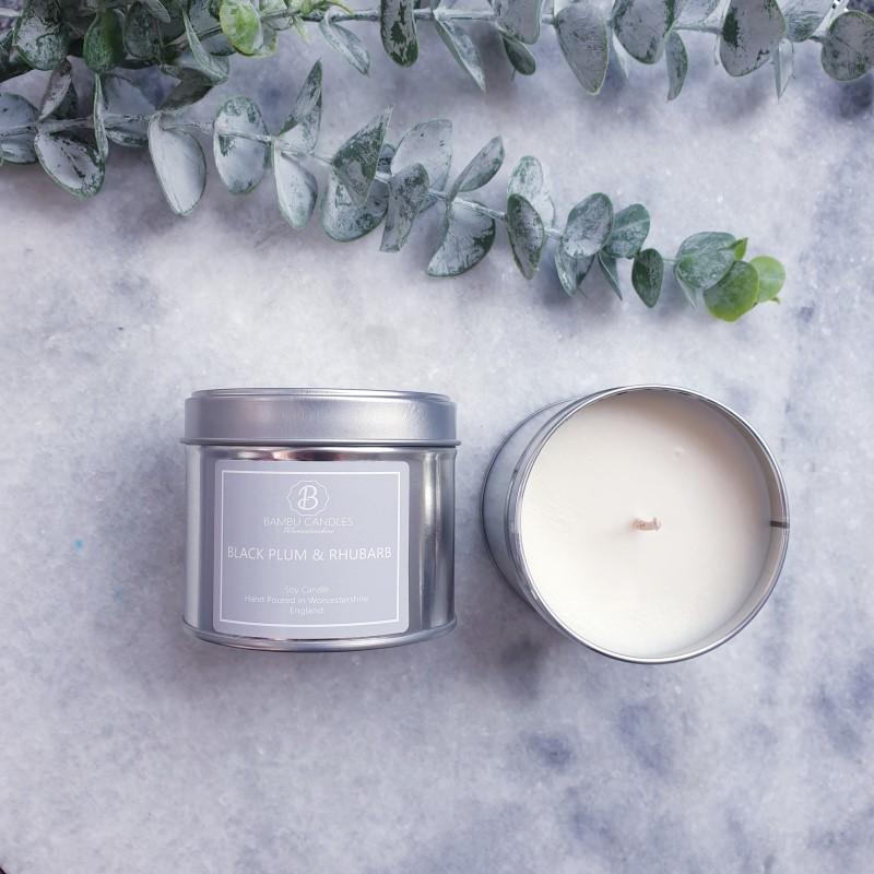 Product image for Bambu Candles Black Plum & Rhubarb Soy Candle Tin