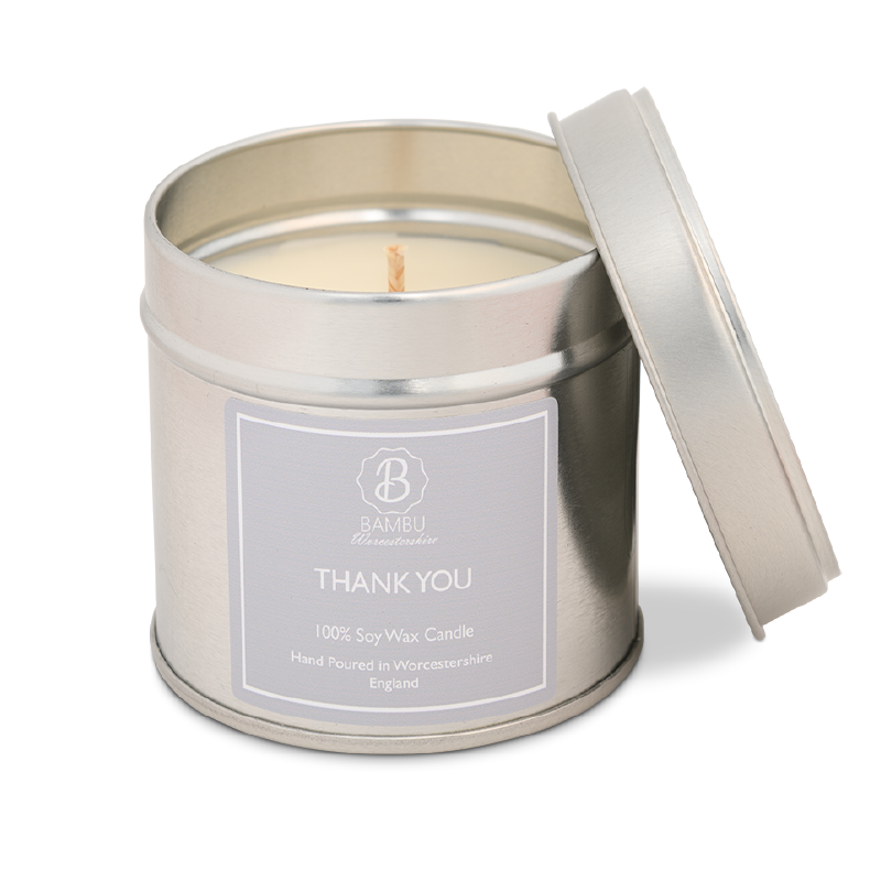 Product image for Bambu Candles Thank you Soy Candle Tin - Sage & Sea Salt