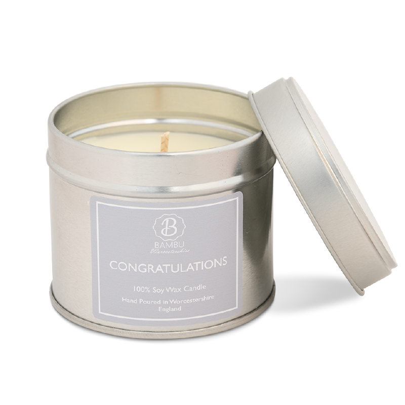 Product image for Bambu Candles Congratulations Soy Candle Tin - Lychee & Peony