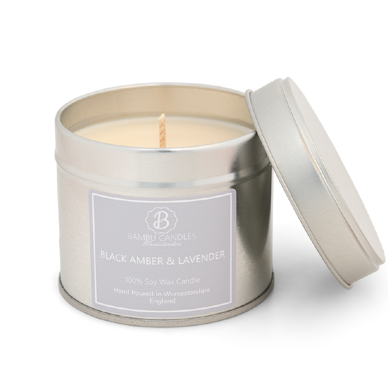 Product image for Bambu Candles Black Amber & Lavender Soy Candle Tin