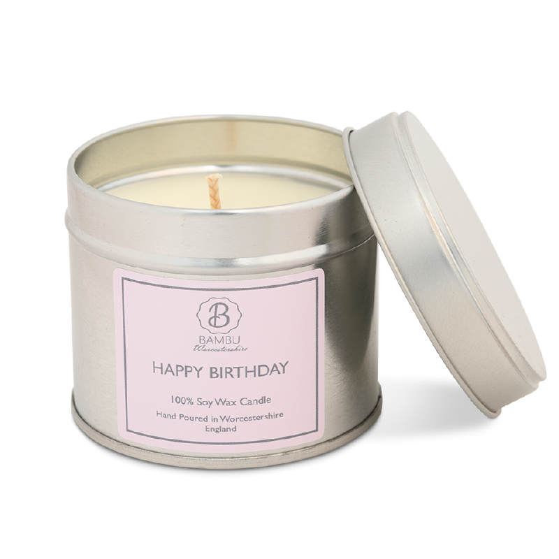 Product image for Bambu Candles Happy Birthday Soy Candle Tin  - Seychelles